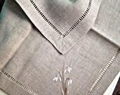 SALE Napkin with Snowdrop - Organic Natural Linen Colors - Classics