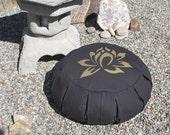 Zafu Meditation Cushion Pillow  Lotus  black / gold