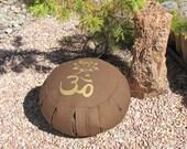Zafu Meditation Cushion Pillow Om Lotus Brown