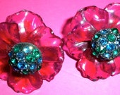 Vintage Vendome Lucite Acetate Flower Earrings with Rhinestone Centers