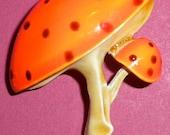 Mid Century Mushroom Enamel Pin Brooch Orange Polka Dots