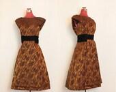 Bronze & Black Orchid Velvet Vintage Silk Evening Dress // Golden Brown - S/M