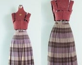 Vintage Purple & Brown Plaid Reversable Pleated Wool Skirt // Plaid Vintage Skirt - XS/S