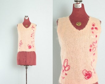S A L E - 1950's - 60's Pretty Pink Vintage Hand Knit Sleeveless Floral Sweater / Pink Vintage Wool Sweater / Wool Vintage Top - Xs/S