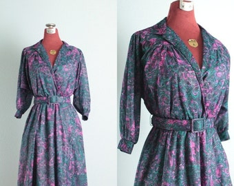 Purple, Pink and Teal Swirl Vintage Day Dress - S/M