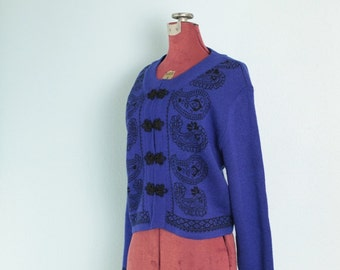 Bright Purple & Black Paisley Vintage Sweater // Purple Vintage Cardigan Sweater - M