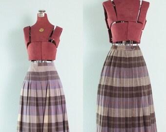 Vintage Purple & Brown Plaid Reversable Pleated Wool Skirt // Plaid Vintage Skirt - XS/S