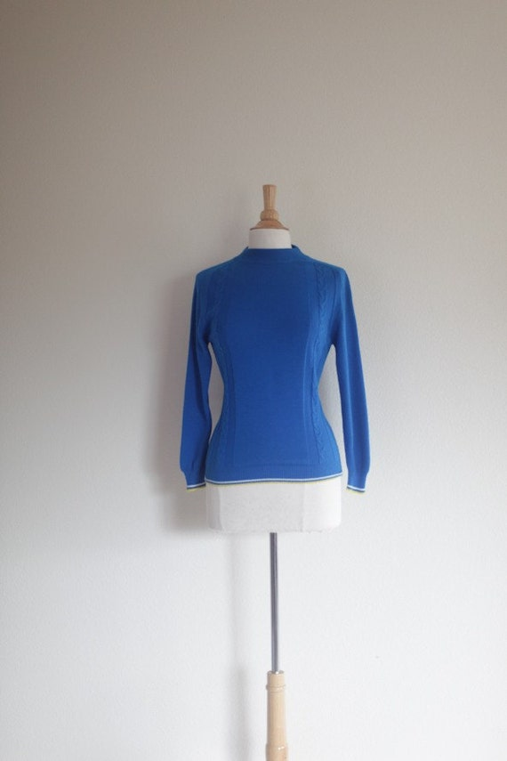 spring sale - SALE 1960's Blue Curacao Vintage Ski Sweater // Vintage Ski Sweater // Vintage Viking Blue, Yellow, White Vintage Sweater - S