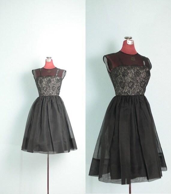 spring sale 1950's Black Lace & Tulle Vintage Dance