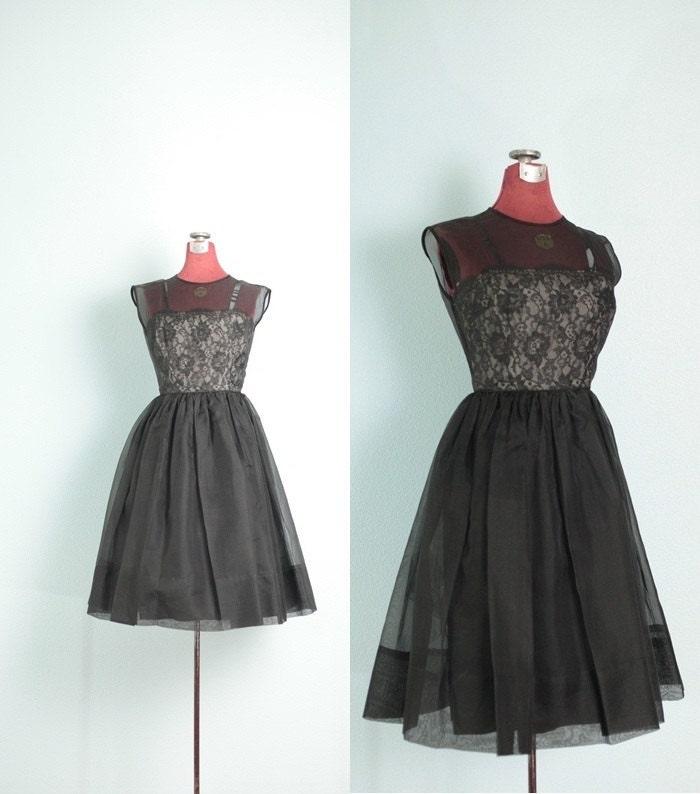 spring sale 1950&39s Black Lace &amp Tulle Vintage by LolaJeanVintage