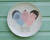 Custom Baby Birth Plate - Heart theme