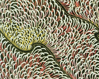 LAST RENEWAL Japanese Chiyogami Yuzen Paper - approx A4 pale pink and lemon feathery design