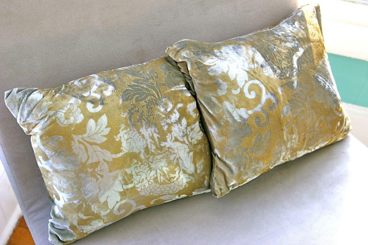 silver & gold velvet brocade throw pillows