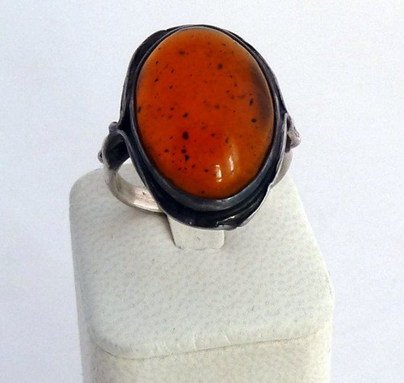 SALE Amber and Silver Ring