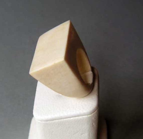 RESERVED (2nd Payment) Estate Pre Ban Mod Design Ivory Rectangle Ring