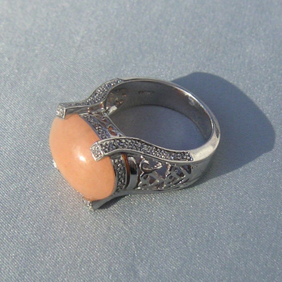 Peach Pink Jade and Diamond Sterling Ring