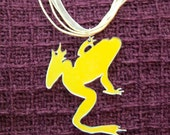 Mirrored reflective frog pendant on pale yellow necklace