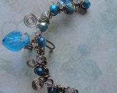Ear Cuff Ear Vine Blue Czech Capri Blue AB Swarovski Crystals Antiqued Brass Twisted Wire Art