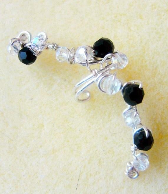 Ear Cuff Ear Vine Swarovski Black & White Crystals Crescent Moon Shape Twisted Wire Art