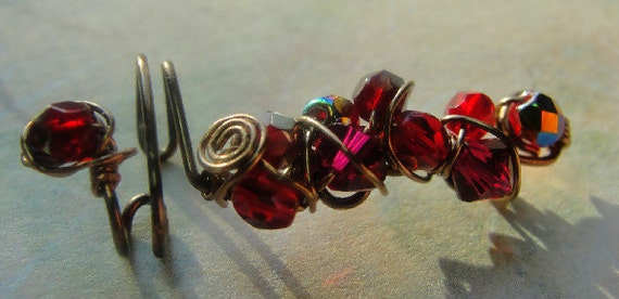 Ear Cuff Ear Vine Red Ruby Swarovski Crystals Czech Beads Twisted Wire Art