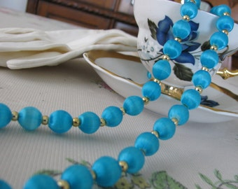 Vintage Satin Beaded Necklace Turquoise with Gold Beads