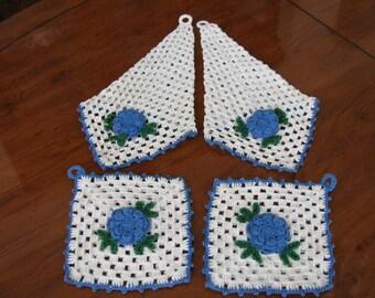 Hand Crochet Pot Holders & Hand Towels 4 Pieces