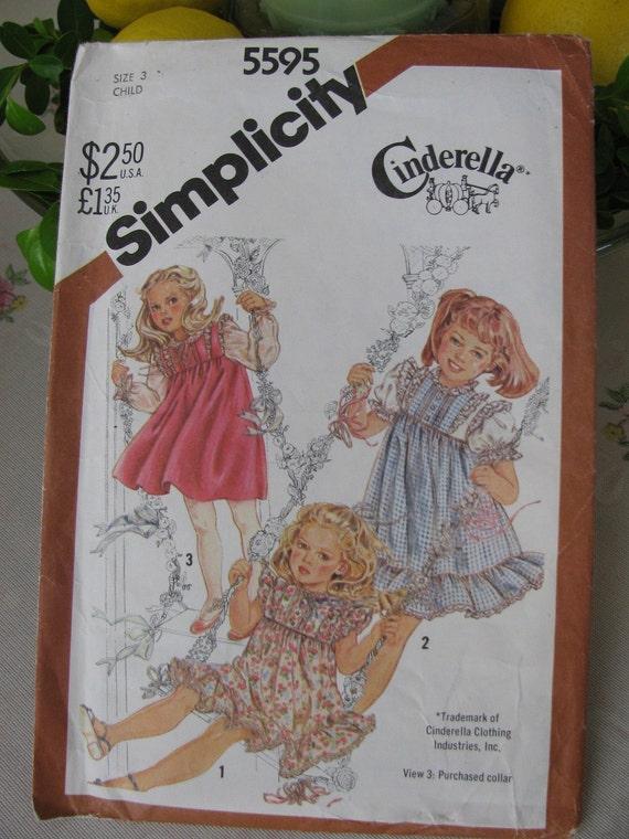 Simplicity Pattern 5595 Cinderella Dress Girls Size 3, Uncut