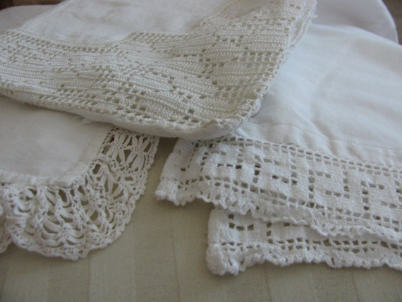 Lovely Lot of Linens Crochet 3 pieces Handmade Pillowcase Table Scarf Tea Towel
