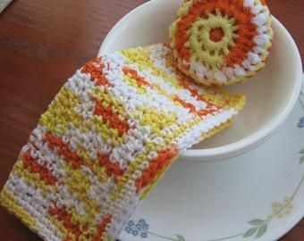 Hand Crocheted Dish/Washcloth and Nylon Scrubbie