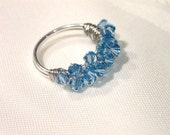 Light blue Swarovski crystal and silver wire ring