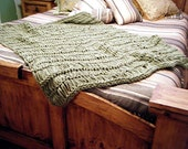 Sage Green Home Decor Throw Blanket, Afghan Lap Warmer, 6 Feet Long Once YOU CHOOSE Fringe Colors