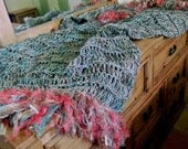 Blanket Throw: Teal, Coral, Aqua, Turquoise, Salmon, Gold Southwest Afghan. 6 Inch Fringe. Southwestern Home Decor
