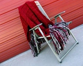 Red Afghan with Black, Mocha, Taupe Brown and White Fringe. Red Home Decor Blanket Throw