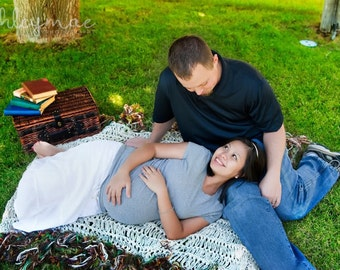 Fringed Throw Lap Warmer Afghan Blanket (or Anniversary Gift for Married Couple) - Also Maternity, Family Photo Portrait Prop