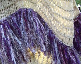 Purple, Tan Home Decor Throw Blanket with Silver Gray in Fringe. Afghan Lap Warmer, Hand Knit