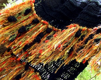 Latin Decor Bold Black Throw Afghan Blanket with Fringe in Green, Orange, Yellow Gold. Hacienda Home Decor Lap Blanket