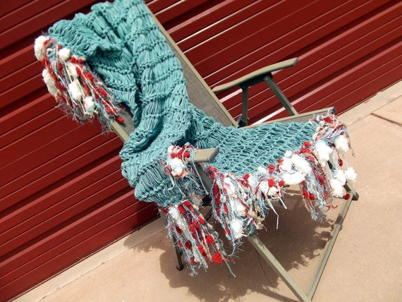 Turquoise Red Throw Blanket With Ivory Cream Gold By
