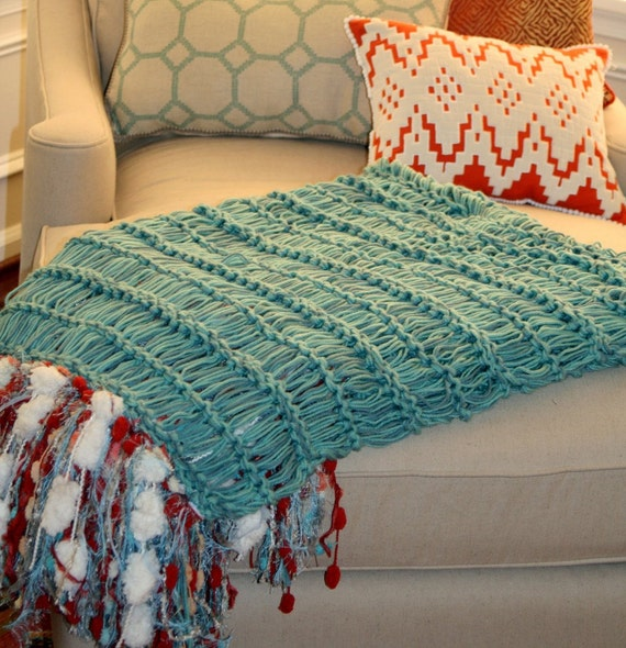 Aqua, Red, Ivory Throw Blanket with Turquoise Blue. Fringe Interior Design Home Decor Accent for Chaise Lounge Chair Sofa