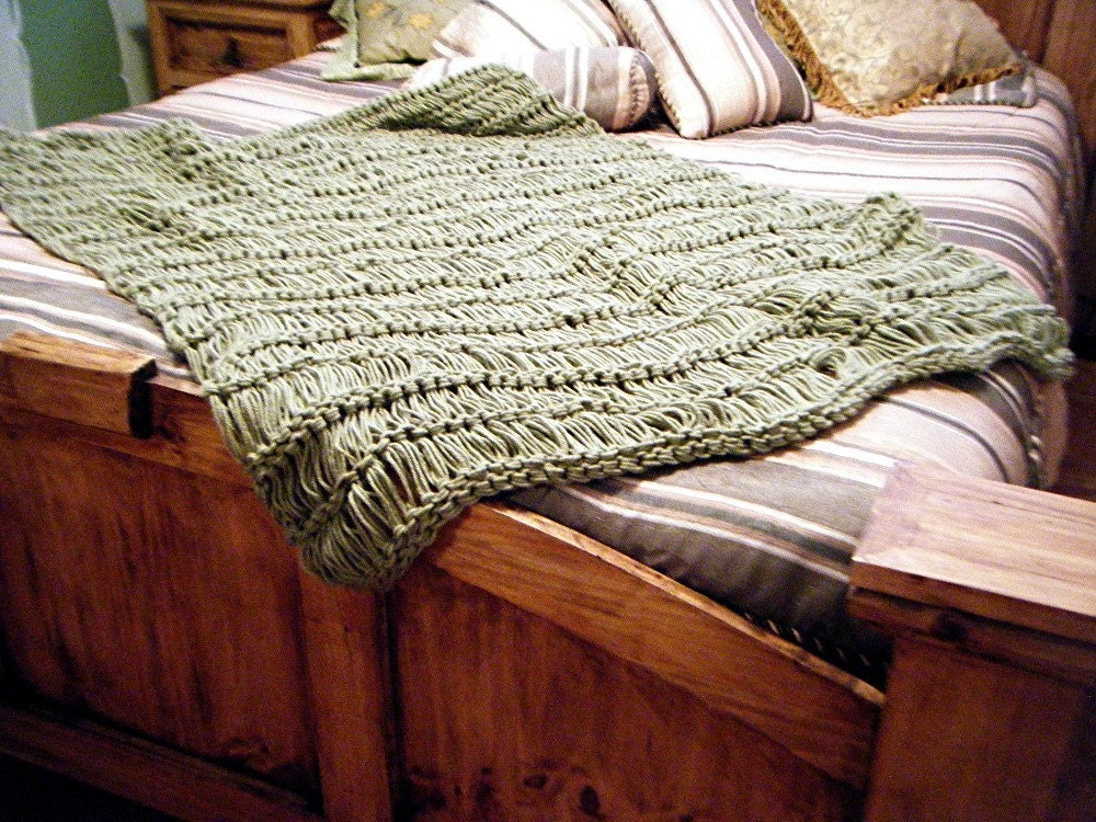 Sage green home decor throw blanket afghan lap warmer 6 feet for Decorative blankets modern home decor