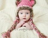 Fuzzy wuzzy Baby Bear photo prop hat Newborn winter wear christmas