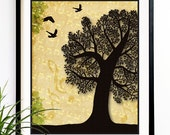 40% OFF SALE Tree Art print Wall hanging Silhouette nature wall art birds flying Home decor vintage style art decorative art poster (6001)