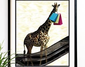 40% OFF CYBER SALE Giraffe art print Mrs. Giraffe shopping fashion art print fashion illustration 8x10 (1005)