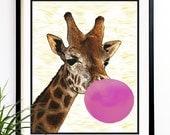 40% OFF CYBER SALE Giraffe bubble gum modern nursery kids wall decor animal decor 8x10 etsy coupon code (9811)