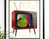 40% OFF CYBER SALE Frog Art print Frog Tv Pop art print Geekery art geek art Retro art (1049)
