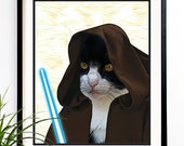 40% OFF CYBER SALE Star Wars prints Obi Cat Kenobi Jedi Art print Cats lovers digital drawing illustration digital print poster (1035)