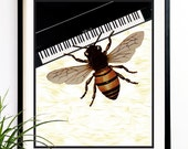40% OFF CYBER SALE Bee Art print Bee playing piano Musician Music art music decorations wall art wall hangings (1021)