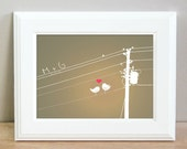 Personalized love birds on a wire print