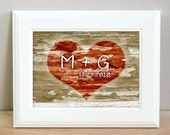 Personalized heart carved tree print - 8 x 10