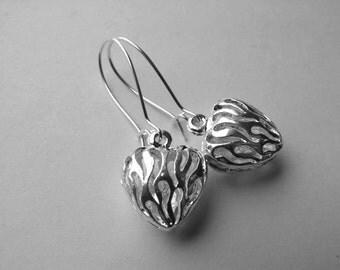 Silver Filigree Earrings, Wild Hearts Dangle Earrings, Filigree Earrings, Heart Earrings,Drop Earrings