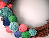 The Calliope - Fabric Rose Grapevine Wreath - 18 inch - Made to Order
